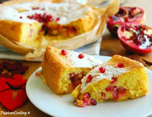 Torta con crema pasticcera e melagrane