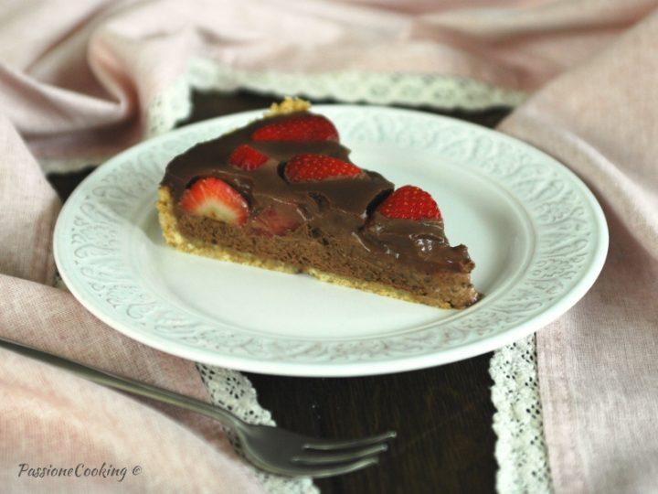 Crostata al cioccolato fondente e fragole