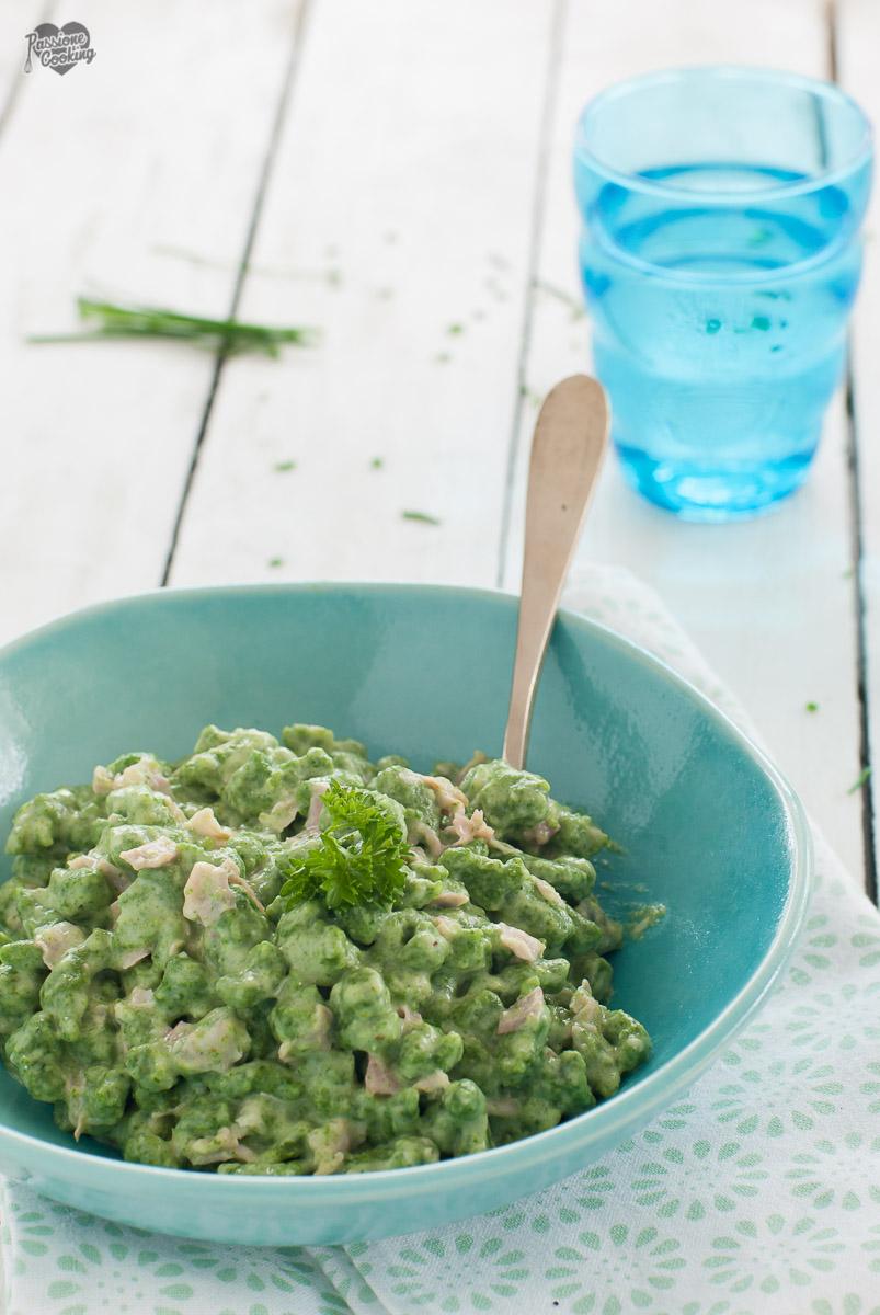 Gnocchetti tirolesi agli spinaci - Spätzle panna e prosciutto