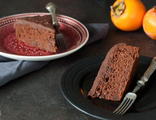 Torta cachi e cacao con ganache all'arancia – senza lattosio