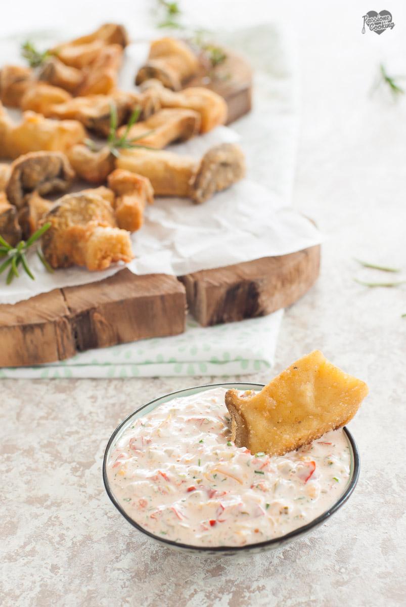 Cardoncelli impanati con salsa remoulade