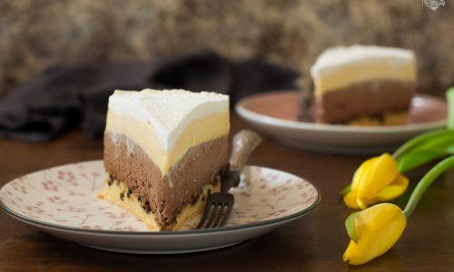 Torta con mousse al cioccolato e vaniglia
