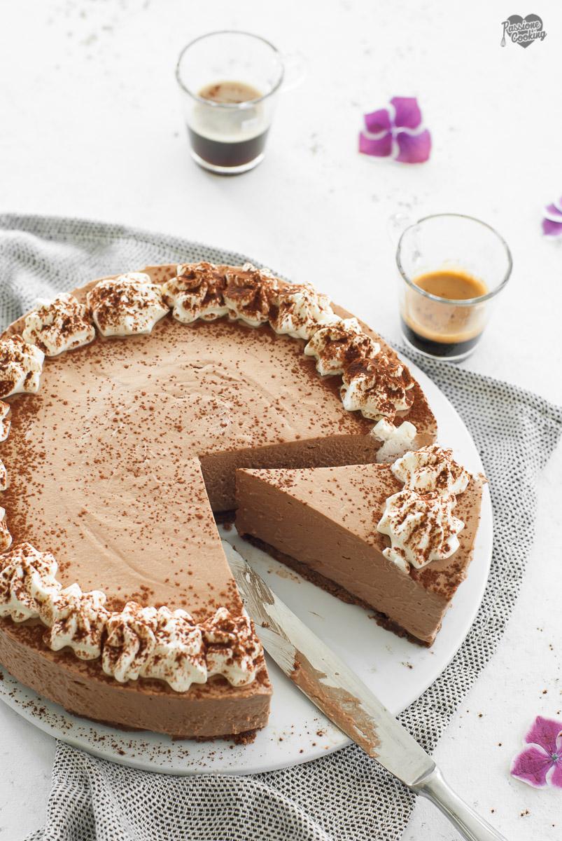 Cheesecake al caffè senza cottura e senza colla di pesce
