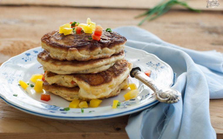 Pancake veloci con peperoni e formaggio