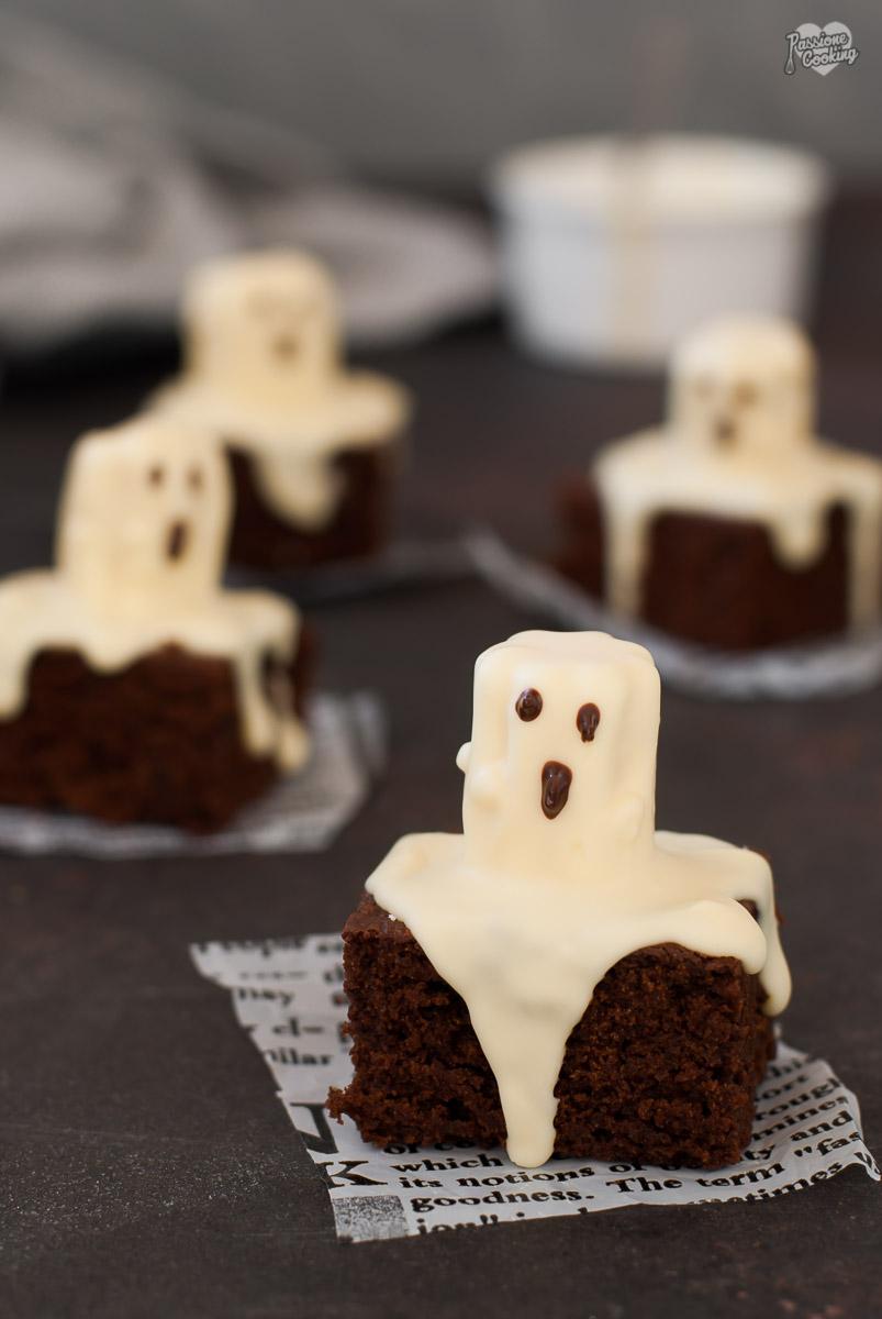 Brownies fantasmino con zucca e cioccolato