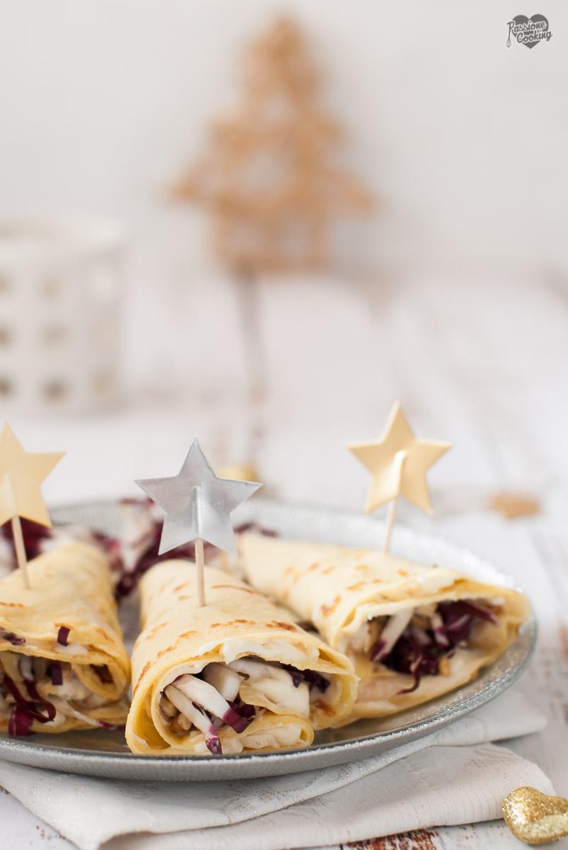 Coni di Crepes con Radicchio e Gorgonzola