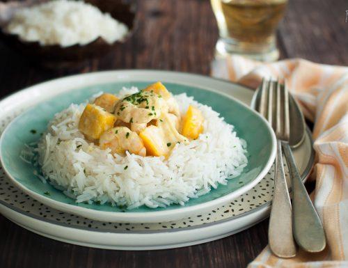 Gamberi al curry e latte di cocco