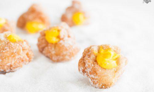 Frittelle senza lievito con crema al mango