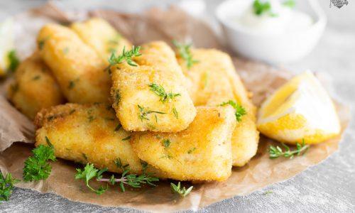 Bastoncini di pesce Halibut impanati