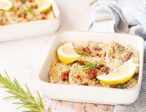Sardine gratinate al forno con pomodori secchi