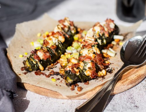 Zucchine Hasselback con pancetta
