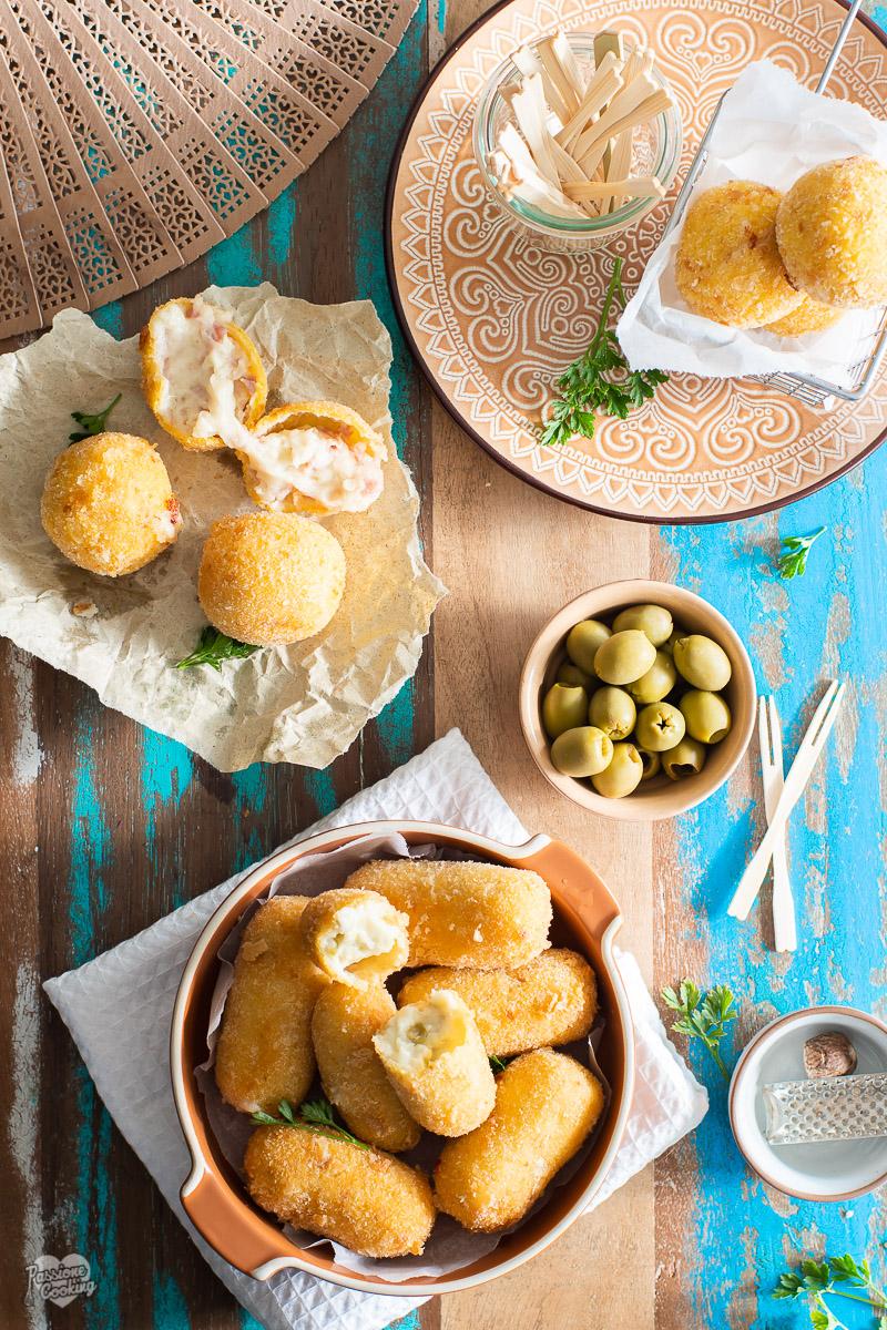 Croquetas de jamón y aceitunas