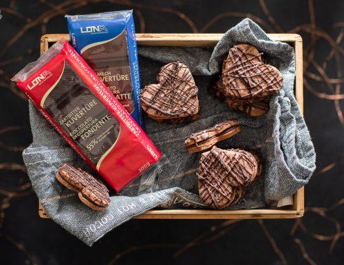 Cuori di cioccolato e caffé ripieni di ganache