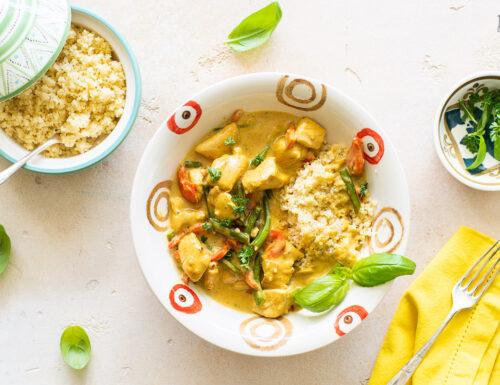Pollo al curry con fagiolini e cous cous