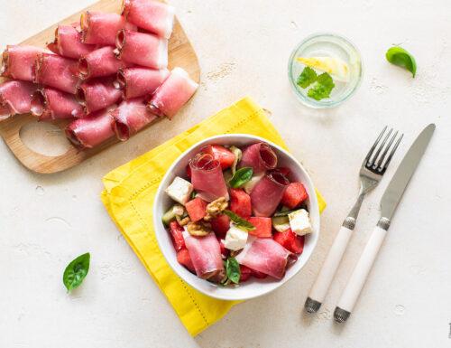 Insalata di anguria con feta e Speck Alto Adige IGP