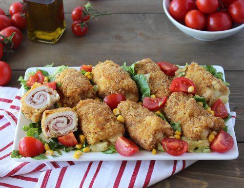 Involtini di pollo impanati al forno: prosciutto cotto e provola silana