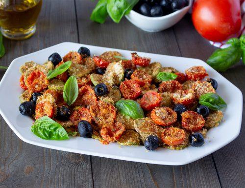 Zucchine con pomodorini e olive: un contorno croccante e gustoso