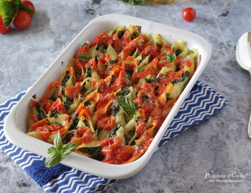 Conchiglioni al forno con ricotta e spinaci: ricetta light