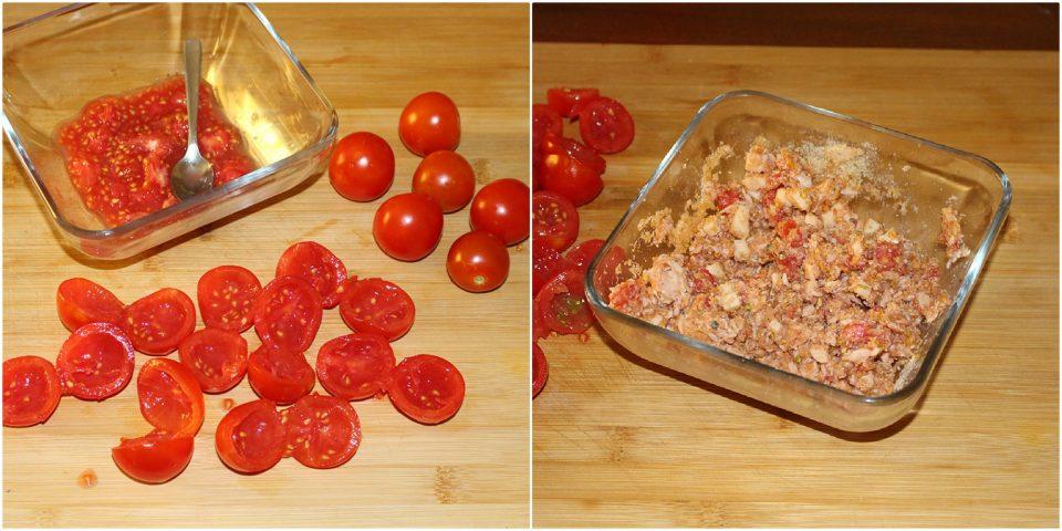 Pomodorini ripieni di tonno al forno: saporiti e scenografici.