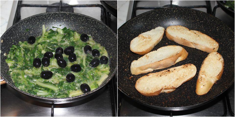 Scarola ripassata in padella su crostini di pane dorati e croccanti: idea antipasto!