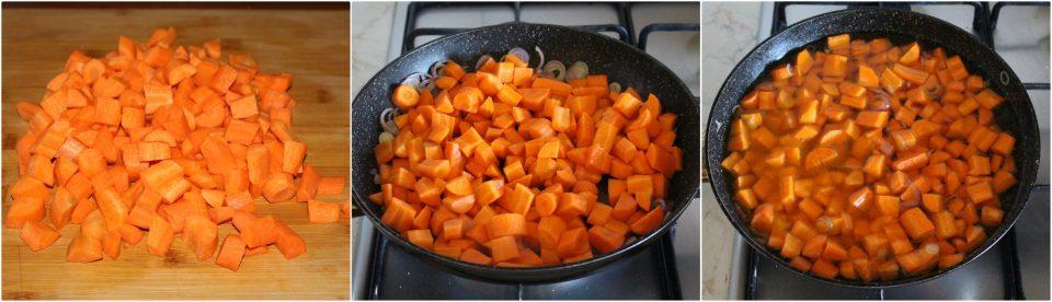 Rigatoni alla crema di carote con olive nere e pomodorini