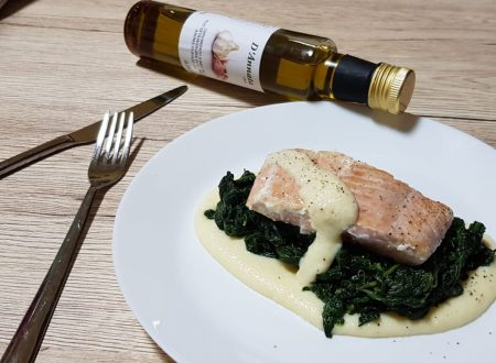 Filetto di salmone con crema al limone e spinaci