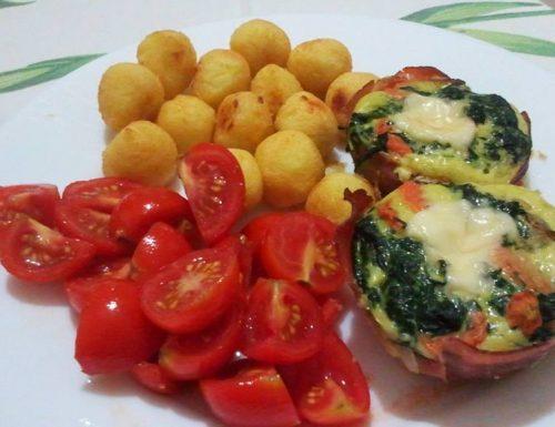 Frittatine di verdure con cuore filante in camicia sud-tirolese