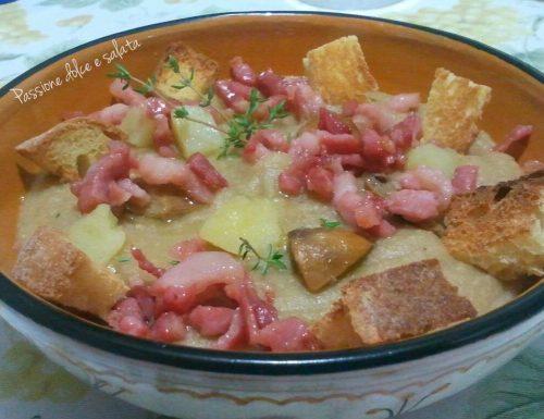 Crema di patate e porcini con pancetta croccante