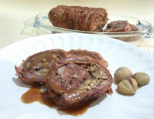 Arrosto di manzo arrotolato con castagne e porcini