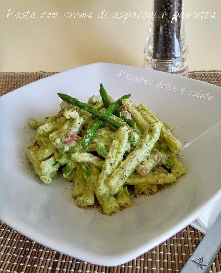 pasta con crema di asparagi e pancetta