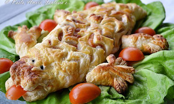 Coccodrillo di Sfoglia con Wurstel e Patatine, ricetta salata