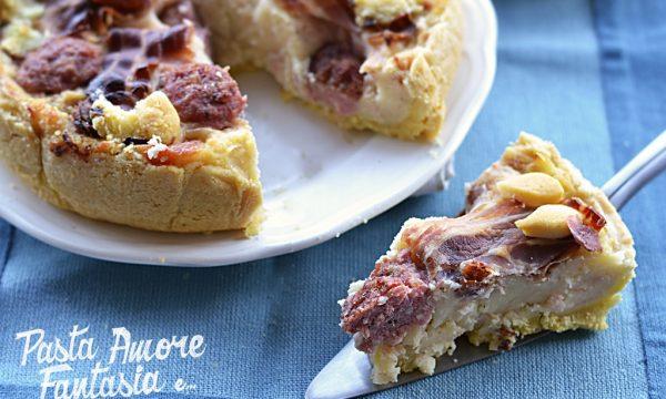 Torta Salata con Pancetta, Salsiccia e Provola affumicata, torta salata