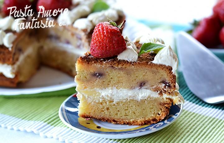 Torta di Patate con Fragole e Crema Diplomatica, ricetta dolce