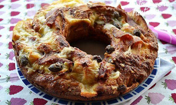 Ciambella Brioche con pancetta, salame e olive verdi, ricetta Bimby e tradizionale