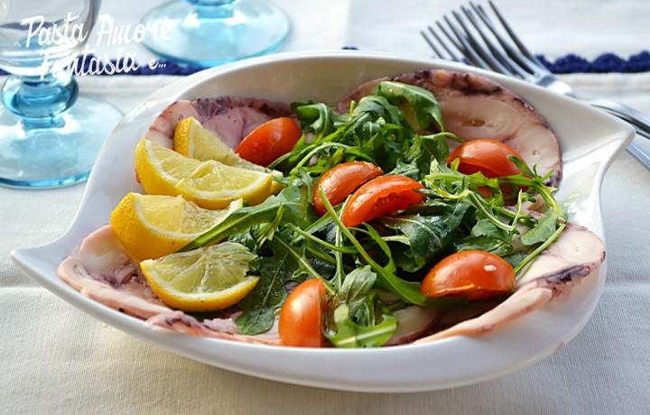 Carpaccio di Polpo con Pomodorini e Rucola, secondo piatto