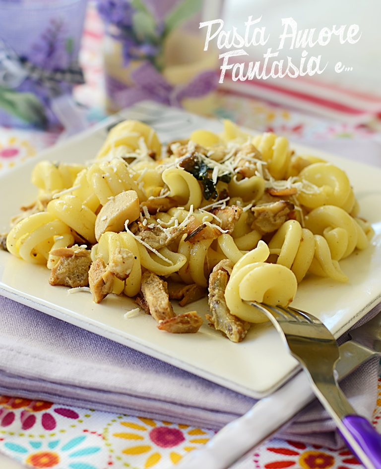 Pasta con Funghi Porcini e Porchetta, primo piatto