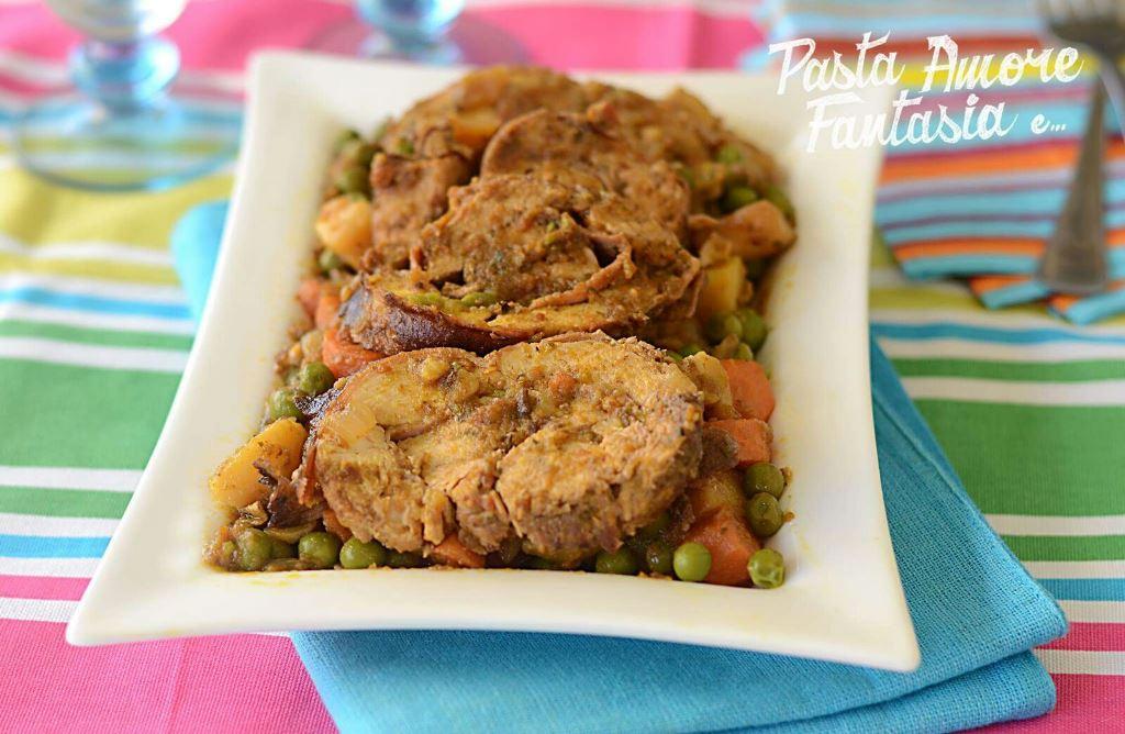 Arrosto di Petto di Pollo con patate, carote e piselli