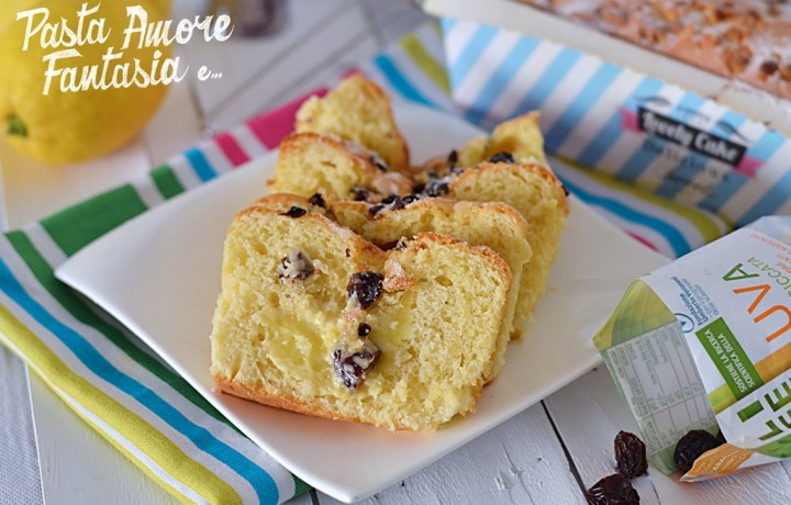 Plumcake con crema al limone, gocce di cioccolato bianco e uva essiccata