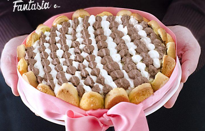 Torta Charlotte con Crema Pasticcera e Crema al Cacao