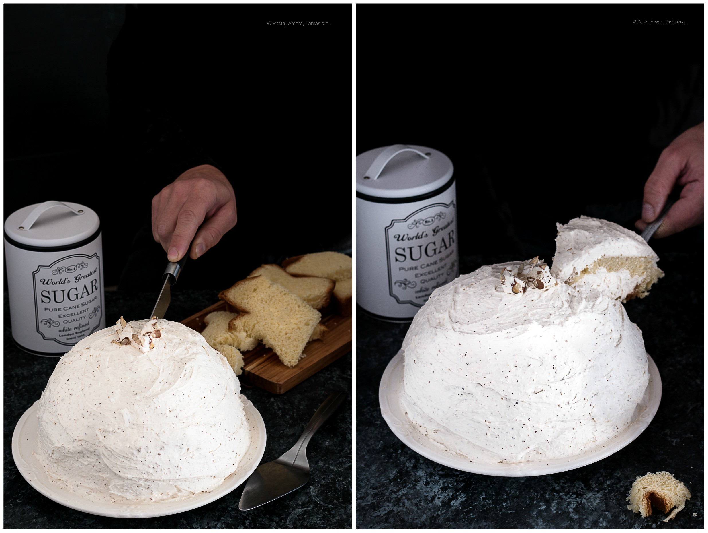 Zuccotto di Pandoro con Crema al Torrone