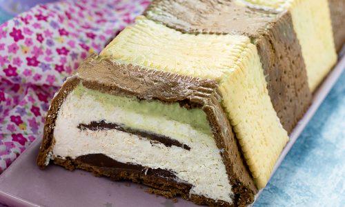 Semifreddo Bicolore al Cocco con Nutella e Pistacchio