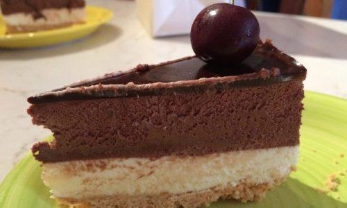 torta cioccolato bianco e bavarese al  fondente