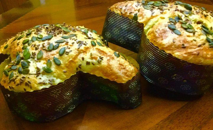 Colomba salata con feta, olive e pomodori secchi