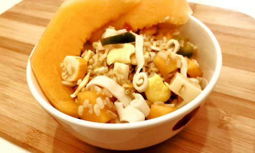 Insalata di riso con melone e lupini