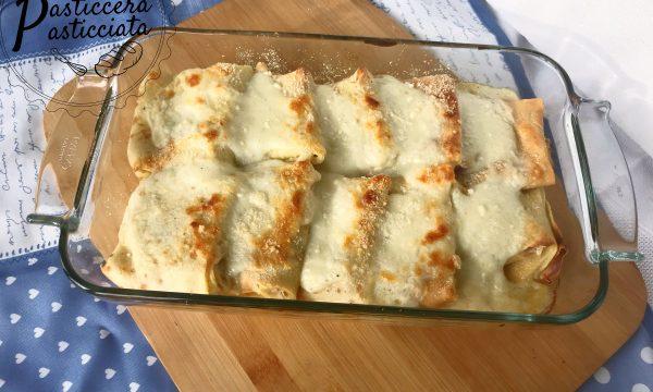 fagottini di crepes con speck e gorgonzola