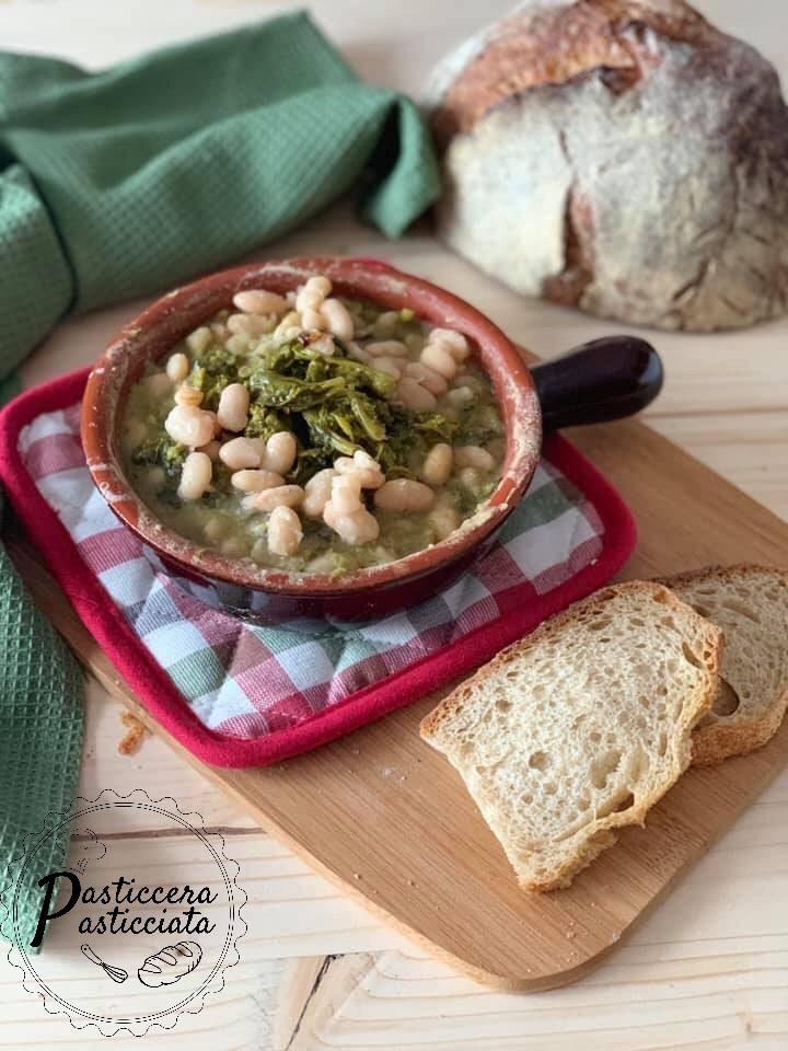 Zuppa di fagioli e broccoletti