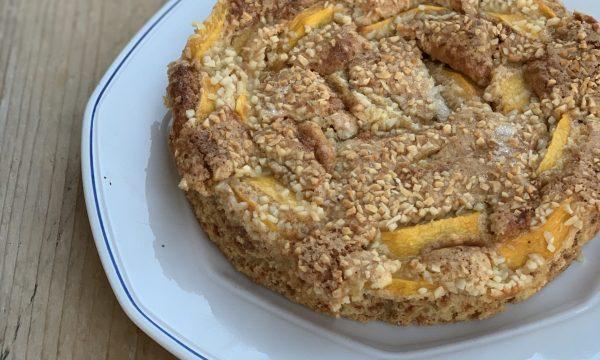 Torta pesche  e amaretti ( senza olio e senza burro)