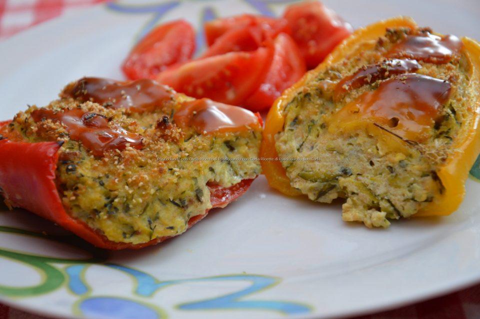 Peperoni ripieni ricotta e zucchine