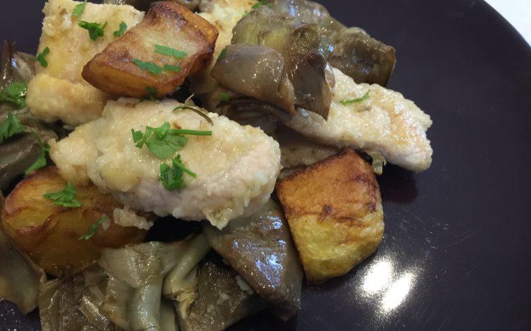 Tacchino con carciofi e patate