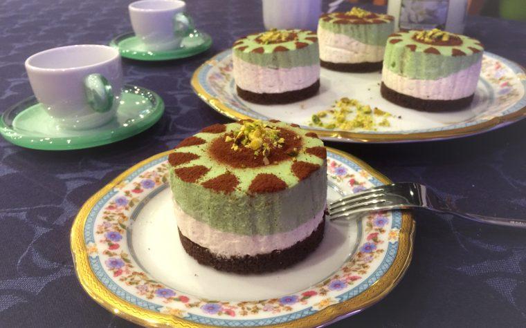 Mini Cheesecake bicolore al pistacchio
